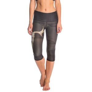 Teeki Charcoal Medicine Deer Crop Capri Leggings